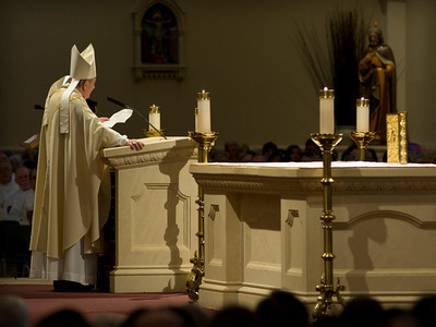 The Most Rev. Pietro Sambi, the papal nuncio to the United States, reads the apostolic letter during the installment Mass for Joe S. Vásquez, the fifth bishop of the Roman Catholic Diocese of Austin, on March 8th, 2010, at St. Williams Catholic Church in Round Rock.