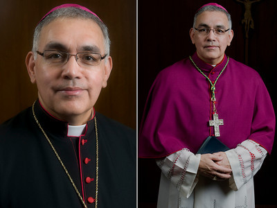 Official portraits of Bishop Joe S. Vásquez, fifth bishop of Austin.